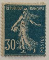 N°192 30 c. bleu, type semeuse fond plein