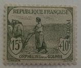 N°150 15 c.+10 c. gris-vert, orphelins de la Guerre