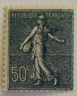 N°161 50 c. bleu foncé, type semeuse fond ligné