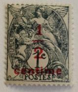 N°157 1 c. surchargé 1/2 c. , type blanc