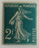 N°239 2 f. vert-bleu, type semeuse fond plein