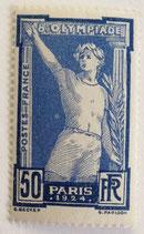 N°186 50 c. bleu et outremer, Jeux olympiques de Paris 1924