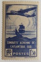 N°320 1 f. 50 bleu-violet, Conquête aérienne de l'Atlantique Sud