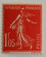 N°195 1 f. 05 vermillon, type semeuse fond plein
