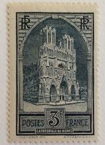N°259  3 f. ardoise, Cathédrale de Reims