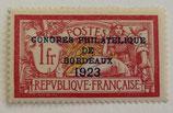 N°182 1f. type merson surchargé Congrès philatélique de Bordeaux
