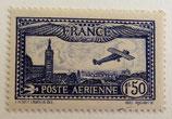 N°6 P.A. 1 f. 50 bleu, avion survolant Marseille