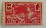 N°184 25 c. rouge carminé et rouge, Jeux olympiques de Paris 1924