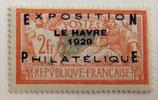 N°257A 2  f. orange et vert bleu, surchargé exposition philatélique Le Havre 1929