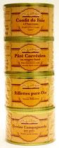Lot x 4 (Confit de foie à l'ancienne 70g + Pâté Corrézien 70g + Rillettes pure Oie 65g + Terrine Campagnarde pur porc 70g ) 275 g
