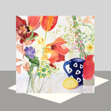 Tulips and Blue Jug Greeting Card