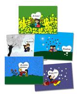 """5 Cartes de Voeux """"Amour"""""""