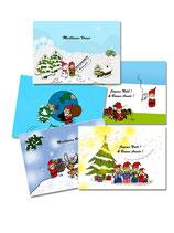 """5 Cartes de Voeux """"Magie de Noël"""""""