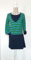 Langarm-Kleid, grün-hellblau-dunkelblau gestreift