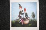 Ölbild, Leinwand, Vogelfrau, 38 x 42 cm