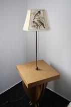 Lampentisch, Stehlampe, Tisch mit Lampe, gold, Vogelschirm, 144 x 44 cm