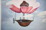 Ölbild, Blumenflieger, 38 x42 cm, Leinwand