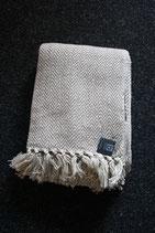 Wolldecke, 130 x 180 cm, 100 % Baumwolle, Fransen, sand