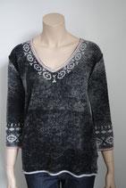 Pullover, Grace, 3/4 Arm Batik antrazit, bestickt