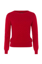 emily and fin, Pullover, langarm,rot,Wabenmuster, 100 % Baumwolle