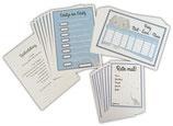 Babyparty Spiele Kuvert Set blau Junge