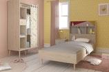 Cama individual roble y rosa