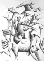 """Z9 Bleistiftzeichnung """"Der tragende Stier"""" 42 x 60 cm , 1993 signiert"""