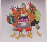 assiette carrée décorée à la main, motif poules, porcelaine