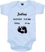 Wunschname + Geburtsdaten mit Füße