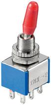 Miniatur Kippschalter blau 3A/250V 2xEIN/EIN 6 Pins Goobay
