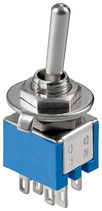 Miniatur Kippschalter blau 3A/250V 2xUM 6 Pins Goobay