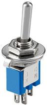 Miniatur Kippschalter blau 3A/125V 1xUM 3 Pins Goobay