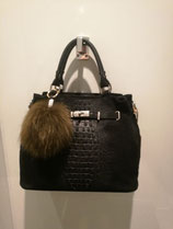 Handtasche schwarz mit Krokolook