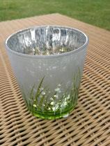 Windlicht aus Glas klein silber/grün