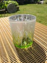 Windlicht aus Glas groß silber/grün