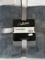 Plaid Sweden 150 x 200 Dark Grey/White