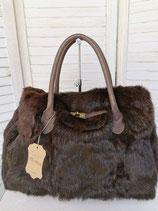 Elegante Tasche aus Leder und Fell