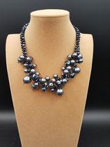 Collier, Collier Court, deux rangs cristal, perle de nacre, noir, inspiration Chanel