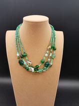 Collier, Collier Court 3 rangs Cristal, Perle de Verre, Agate, vert