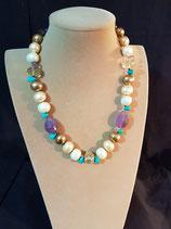 Collier, collier court, perle de nacre, pierres naturelles.