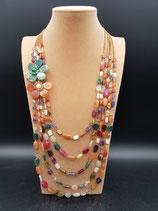 Collier Long, Sautoir, Pierres Naturelles, Multi-rangs, Multicolore.