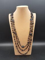 Sautoir, Collier long, en cristal et perle de rocaille noir 3 rangs
