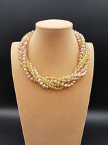 Collier, Collier Court, Collier Femme, Cristal Champagne, Multi-rangs,