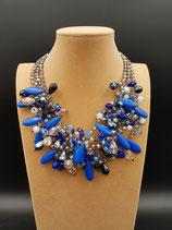 Collier, collier mi-long, style breloque, cristal, pierre.