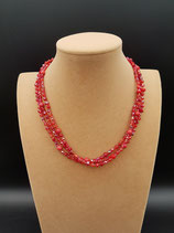 Collier, Collier Court, 3 rangs, Cristal Rouge