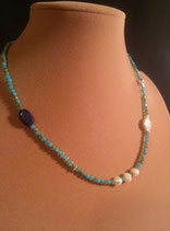 Collier fin cristal turquoise, perle de culture d'eau douce et lapis lazuli.