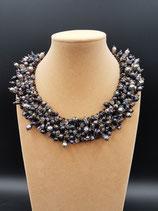 Collier de Soirée, Bijoux de Soirée, Plastron perle de culture d'eau douce noire.