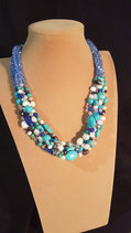 Collier perle de culture d'eau douce, cristal, perle de verre et turquoise reconstituée.