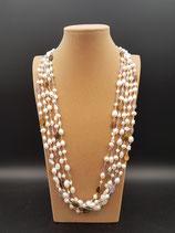 Sautoir, collier long, perle de culture d'eau douce, pierres naturelles, 5 rangs