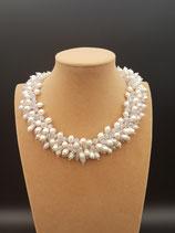 Collier, Collier Court, Collier de Mariage, Collier Perle de Culture d'eau douce, Cristal